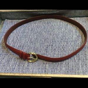 Coach classic red leather belt w/ brass buckle EUC
